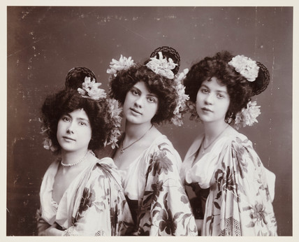 Studio portrait of three women, c 1900s.