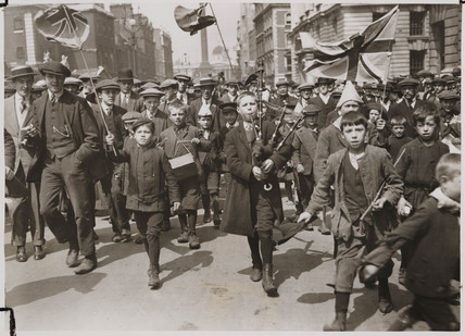 Young patriots passing War Office,  Whitehall, London, August 1914.