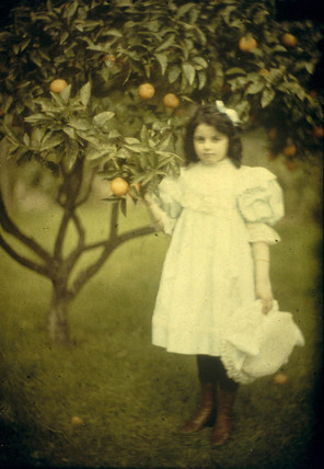 Peggy in the garden c1909.