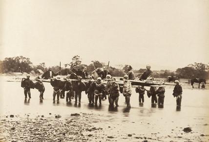 River crossing at Hakoni (Hakone) Lake, c.1877.
