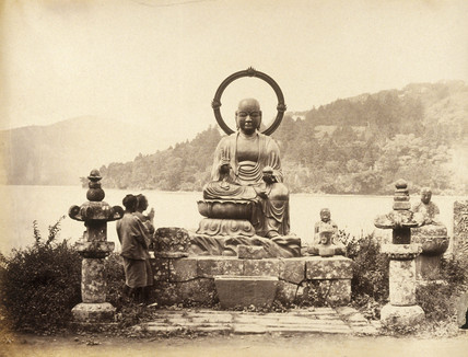 Bronze statue of Buddha by Lake Hakoni (Hakone), c.1877.