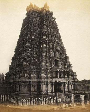 Hindu temple in India, c.1877.