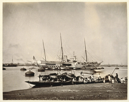 The Royal yacht Osbourne in the Hooghly (Hugli) River, India, 1875.