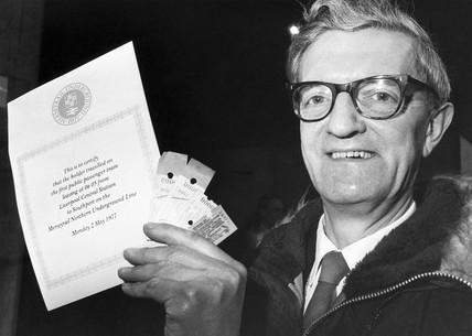 Ralph Jackson, first passenger on the Merseyrail underground, 1977.