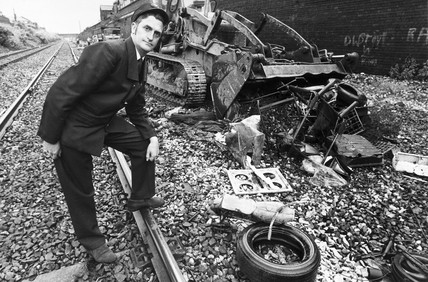 Train driver with rubbish on the line, June 1974.