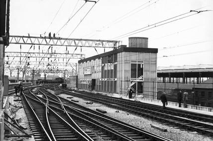 Signal box at London Road Station, Manchester, 1960.