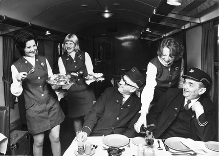 Trainee British Rail dining car waitresses, 1975.
