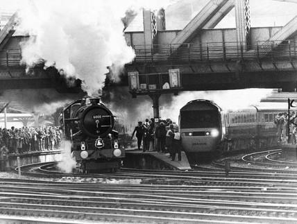 'King George V' steam locomotive and Inter-City 125, Paddington Station, 1979.