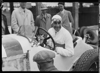 Hans Stuck at wheel of Mercedes-Benz SSZ racing car, 1931.