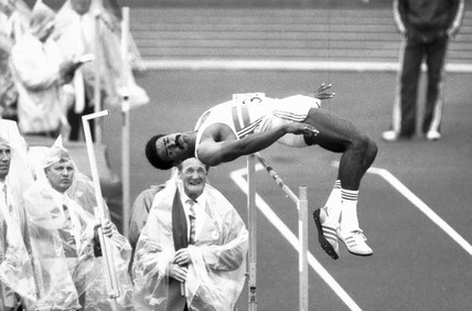 Daley Thompson, British athlete, Helsinki, Finland, 1983.