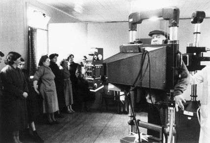 Patients being X-rayed for tuberculosis, Glasgow, 18 March 1957.