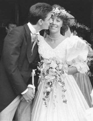 British footballer Ian Rush marries Tracy Evans, Wales, July 1987.
