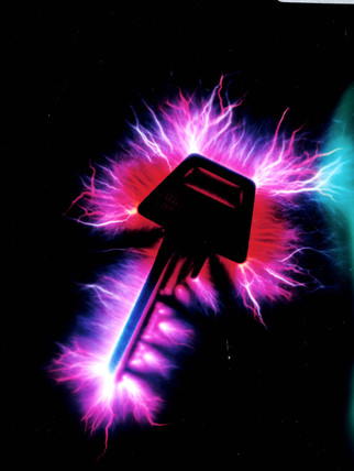 Kirlian photograph of a key.