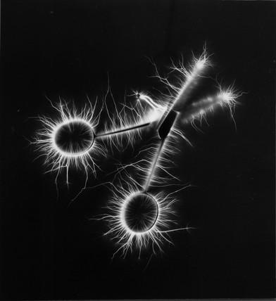 Kirlian photograph of a pair of scissors.