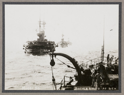 'Battleships at Sea', c 1916.