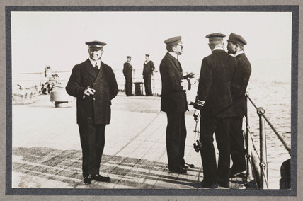 Officers on deck of battleship, c 1916.