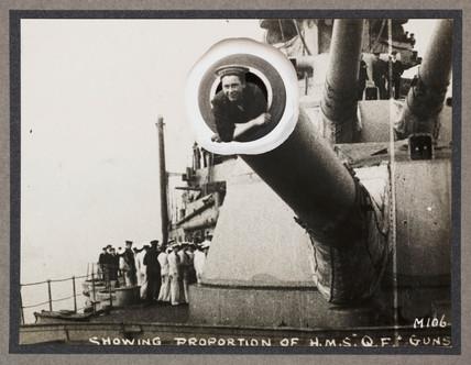 'Showing Proportion of HMS Queen Elizabeth's Guns', c 1916.