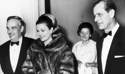 Prince Rainier, Princess Grace and Prince Philip at the opera, c 1960s.