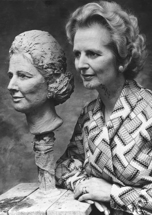 Margaret Thatcher and sculpture, June 1975.