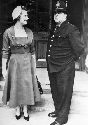 Margaret Thatcher and policeman, October 1959.
