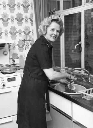 Margaret Thatcher washing up, October 1974.