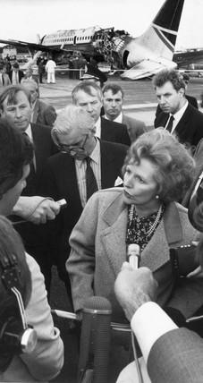 Margaret Thatcher at Manchester Airport, August 1985.