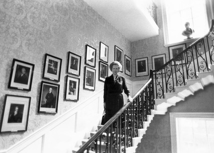 Margaret Thatcher on the stairs, 10 Downing Street, September 1985.