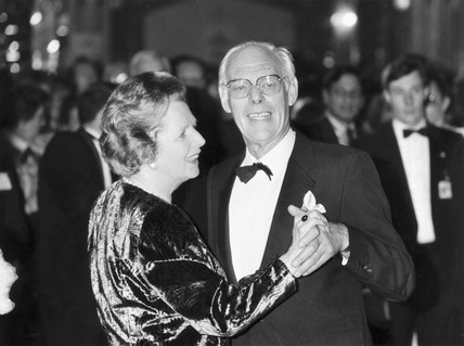 Margaret Thatcher dancing with Denis, October 1987.
