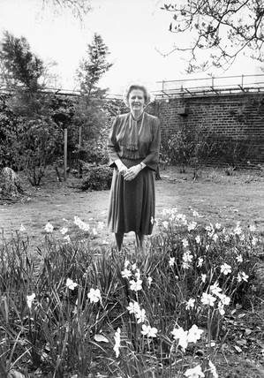 Margaret Thatcher with spring flowers, April 1987.