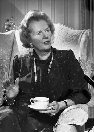 Margaret Thatcher with a cup of tea, April 1987.