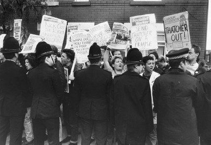 Socialist students protesting over the visit of Margaret Thatcher, 22 May 1987.