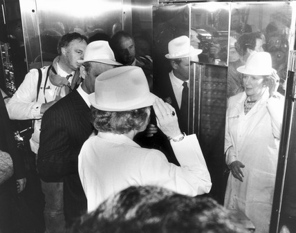 Margaret Thatcher visiting a biscuit factory, May 1987.