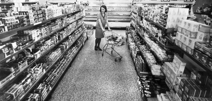 Woman in a supermarket, April 1968.