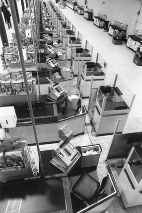 Check-outs at Tesco hypermarket, February 1976.