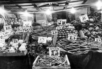 Greengrocer's, Islington Market, London, August 1977.