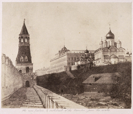 'The new palace and cathedral of the Kremlin, from the walls', 1852.