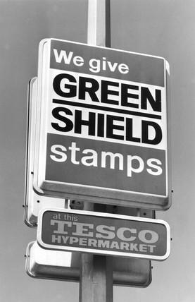 Green Shield stamp sign, Tesco hypermarket, May 1977.