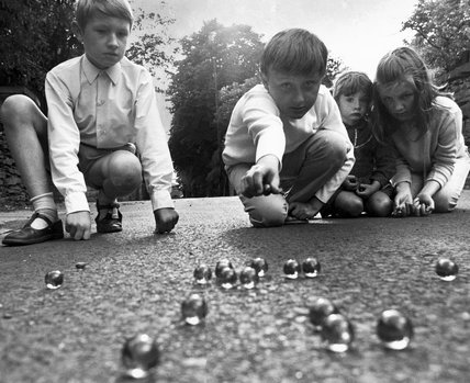 Children Playing Marbles 1970 on electric cars in florida