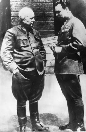 Khrushchev and Brezhnev, 1943.