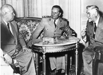 Marshal Tito meets Khrushchev and Bulganin, Belgrade, 29 May 1955.