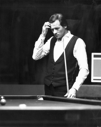 Alex Higgins, Irish snooker player, 1986.