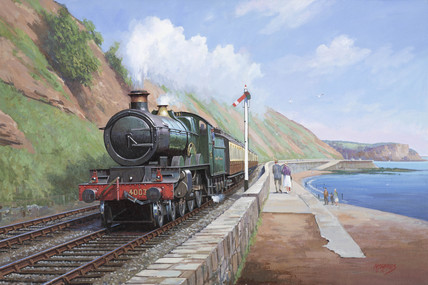 'Lode Star' No 4003, running along the sea wall at Dawlish, early 1930s.