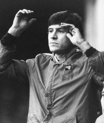 Emlyn Hughes, Rotherham manager, 1981.