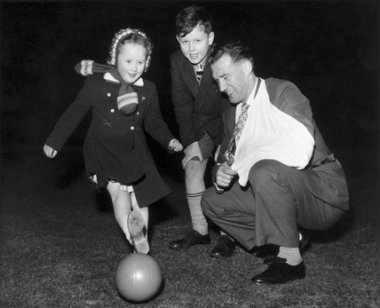 British footballer Nat Lofthouse and family, Blackpool, March 1958.