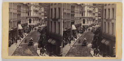 'The Bulls and Bears in Gold: William Street...New York', c 1860.