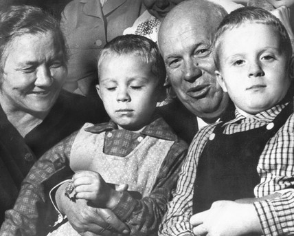 Khrushchev with his wife and grandsons, October 1964.