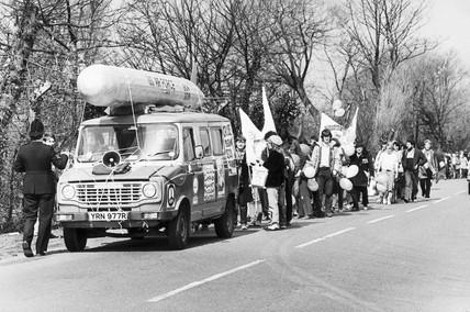 Anti-nuclear protest, USAAF Burtonwood, Merseyside, c 1984.
