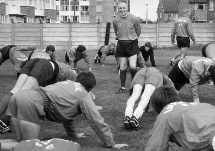 Bill Shankly with his team in training, July 1970.