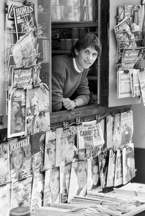 Gary Lineker looks out from a newstand, September 1985.