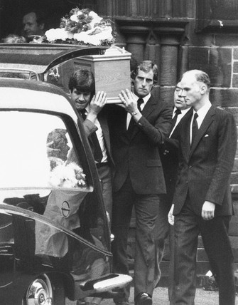Shankly's coffin, October 1981.